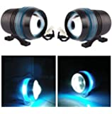AllExtreme EXBU3F2 U3 LED Fog Light Universal Spot Driving Head Lamp with Blue Ring for Cars Bikes and Motorcycles (8W, White & Blue Light, 2 PCS)