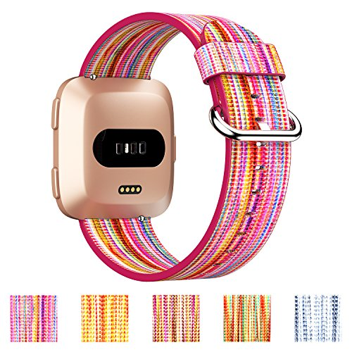 GeekSpark for Fitbit Versa Bands, Colorful Leather Replacement Accessories Wristbands with Stainless Metal Clasp for Fitbit Versa Smart Watch