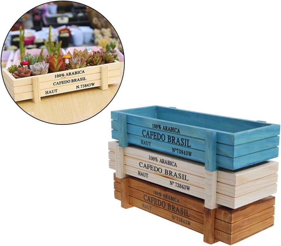 Marron Deaum Vintage Pot de Fleur en Bois Rustique pour Plante Succulente Herbe Charnue Fleur Lit Pot Rectangle Creux Bo/îte Jardini/ère
