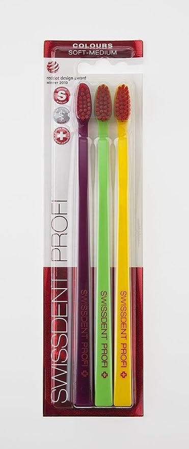 Swiss Dent profesional Soft Medium Cepillo de dientes Trio Lila, Verde, Amarillo