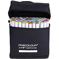 Marcadores Permanentes Doble punta Rotuladores Colores artísticos + Negro Estuche para Pintura dibujo Resaltado arte bolígrafos(72)