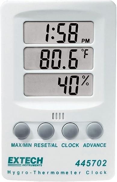 Extech 445702 Hygro-Thermometer-RH Indicator-Clock