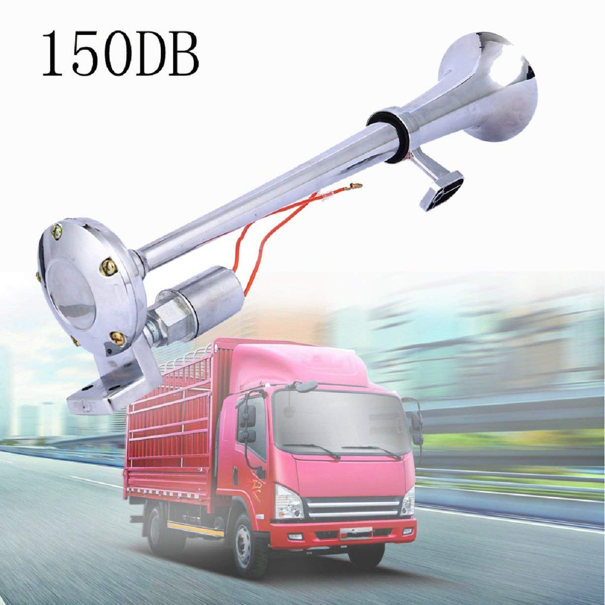 AUTOLOVER Air Horn Loud 150DB Single Trumpet Air Horn Premium Quality Air Horn Kit for Truck Boat SUV Train with Compressor Powerful
