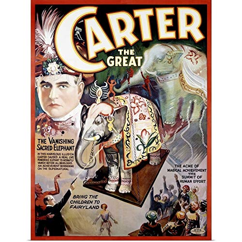 GREATBIGCANVAS Poster Print Entitled Carter The Great, The Vanishing Sacred Elephant, Vintage Poster by 12
