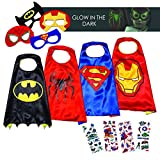 Halloween Superhero Costumes for Boys – 4 Capes and Masks – Dress Up Kids Toys