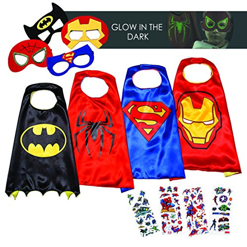 Halloween Superhero Costumes for Boys – 4 Capes and Masks – Dress Up Kids (Superhero Boys)