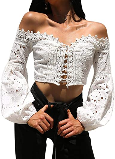 Women Ladies Off The Shoulder Crop Top Lantern Sleeve Waist Chiffon Shirt Blouse