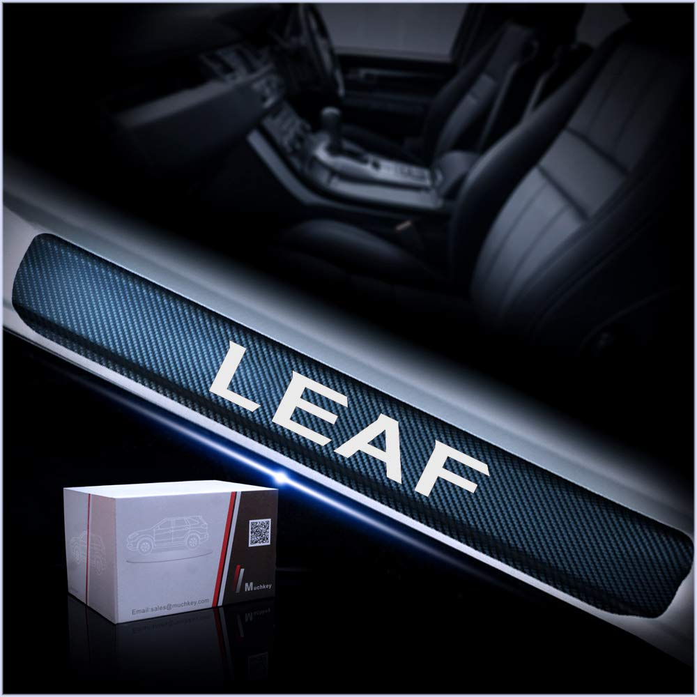 for Nissan Leaf Door Sill Protector Reflective 4D Carbon Fiber Sticker Door Entry Guard Door Sill Scuff Plate Stickers Auto Accessories 4Pcs Blue