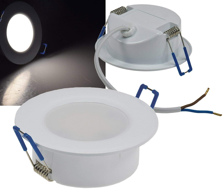 foco con IP44 5/W con agujeros EB Rund 4000k Neutralwei/ß para techo de 230/V COB 5.00W 230.00V /ø68/mm de f/ácil montaje de pl/ástico de color blanco Luz de ledes empotrable