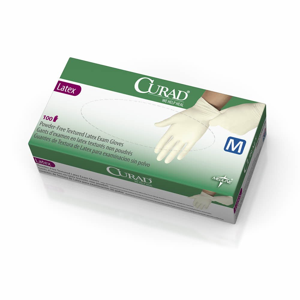 Medline CUR8105 CURAD Powder-Free Textured Latex Exam Gloves, 9.5'' Length, Medium, Beige (Pack of 1000) by Medline