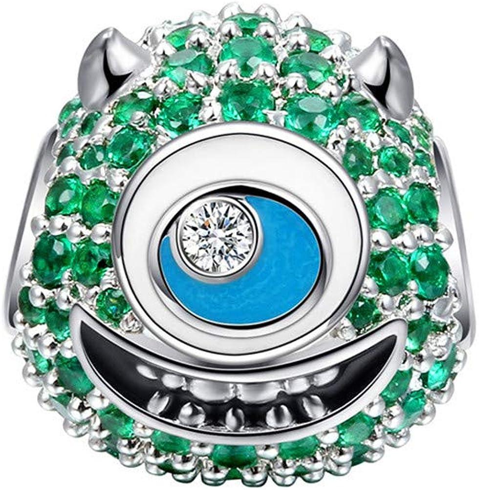 Crystal Mask S925 Sterling Silver Charm CZ Pendant Fit Stylish Bracelet Jewelry