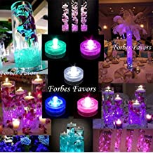 Pack of 10 Submersible Waterproof LED Tea Lights Wedding, Centerpieces, Decoration, Fish Tank etc, By Forbes Favors White, Pink, Purple, Blue or Teal (Pink)