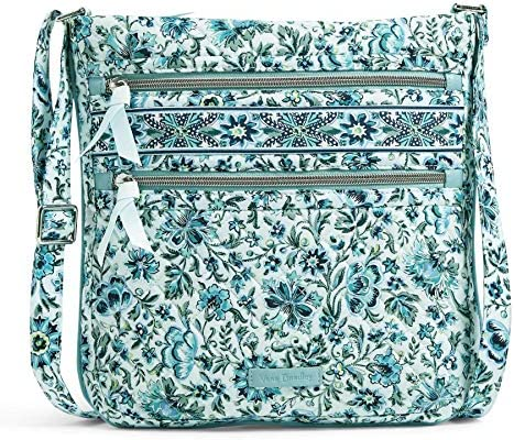 Vera Bradley Signature Cotton Triple Zip Hipster Crossbody Purse Handbag
