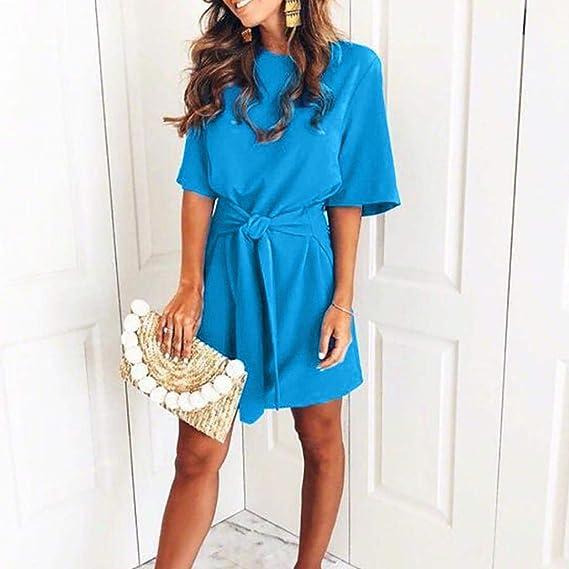FuweiEncore Las señoras de Las Mujeres Ocasionales de Lujo Atan para Arriba el Mini Vestido de Fiesta Brillante (Color : Azul, tamaño : X-Large): Amazon.es: ...