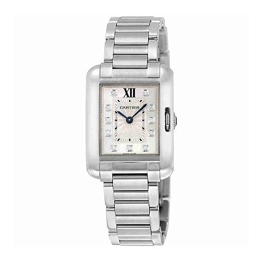 Cartier Tanque Anglaise Acero Inoxidable con Diamantes Reloj de Pulsera de Mujer w4ta0003: Amazon.es: Relojes