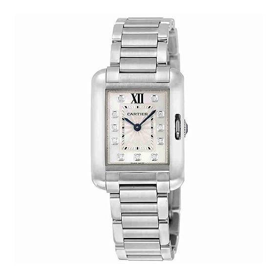 Cartier Tanque Anglaise Acero Inoxidable con Diamantes Reloj de Pulsera de Mujer w4ta0003