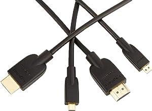 AmazonBasics - Cable adaptador Micro HDMI a HDMI - 0,91 (2-Pack)m (estándar más reciente)