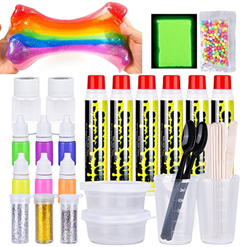 LOYO Slime Kit, 32 Pack DIY Slime Kits to Make Your Own Clear and Glowing Slimes with Glow Powder, Glue, Glitter Shakes, Color Neon Paints, Measuring Cups and Slime Containers (32 Pack DIY Slime Kit)