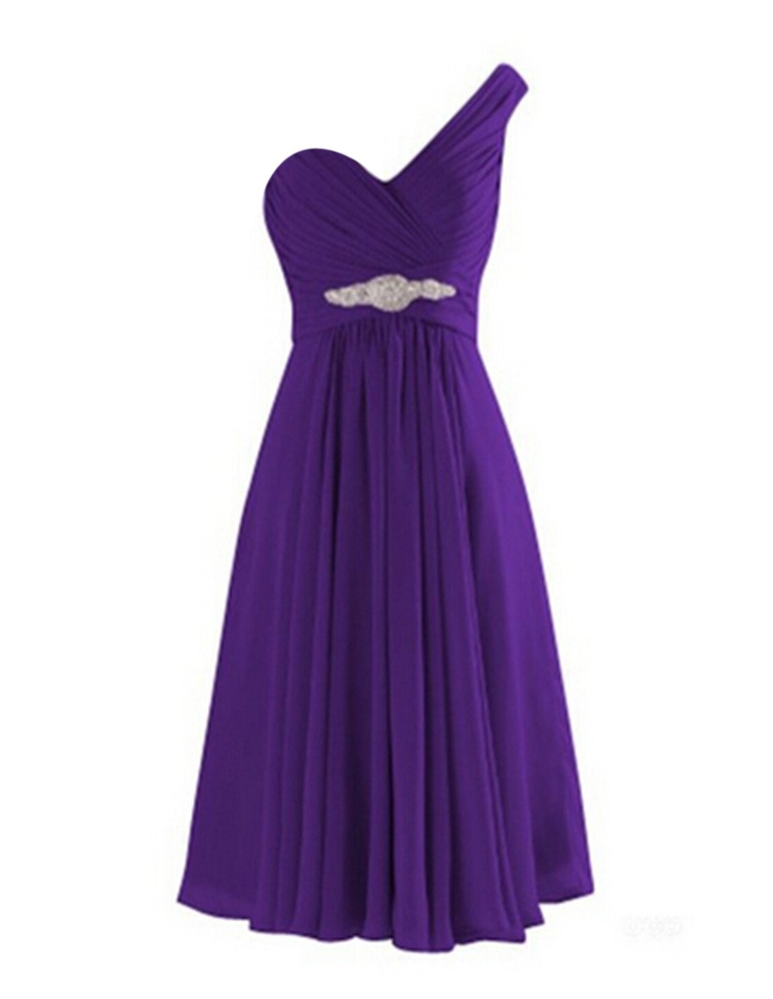 VaniaDress One Shoulder Tea Length Evening Bridesmaid Prom Dresses V273LF Purple US6
