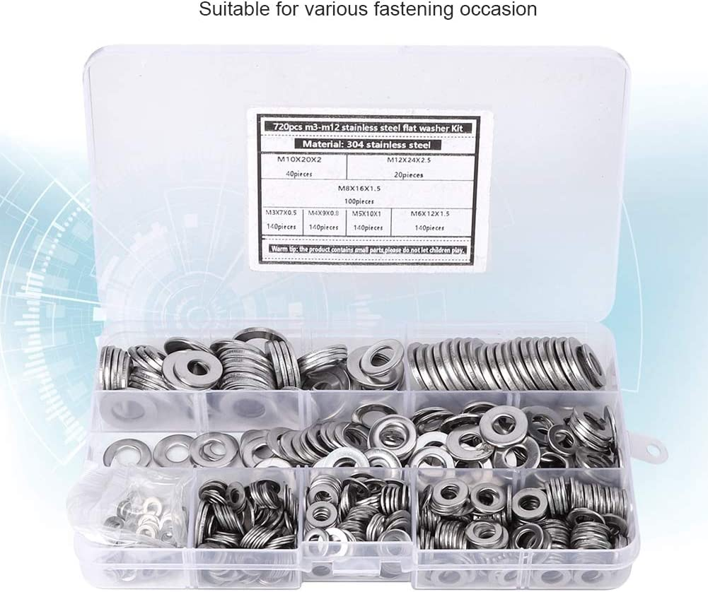 Spring Washer 304 Stainless Steel Corrosion-Resistant Silver Spring Gasket Steel Flat Washer M3-M12 for Fastening Home