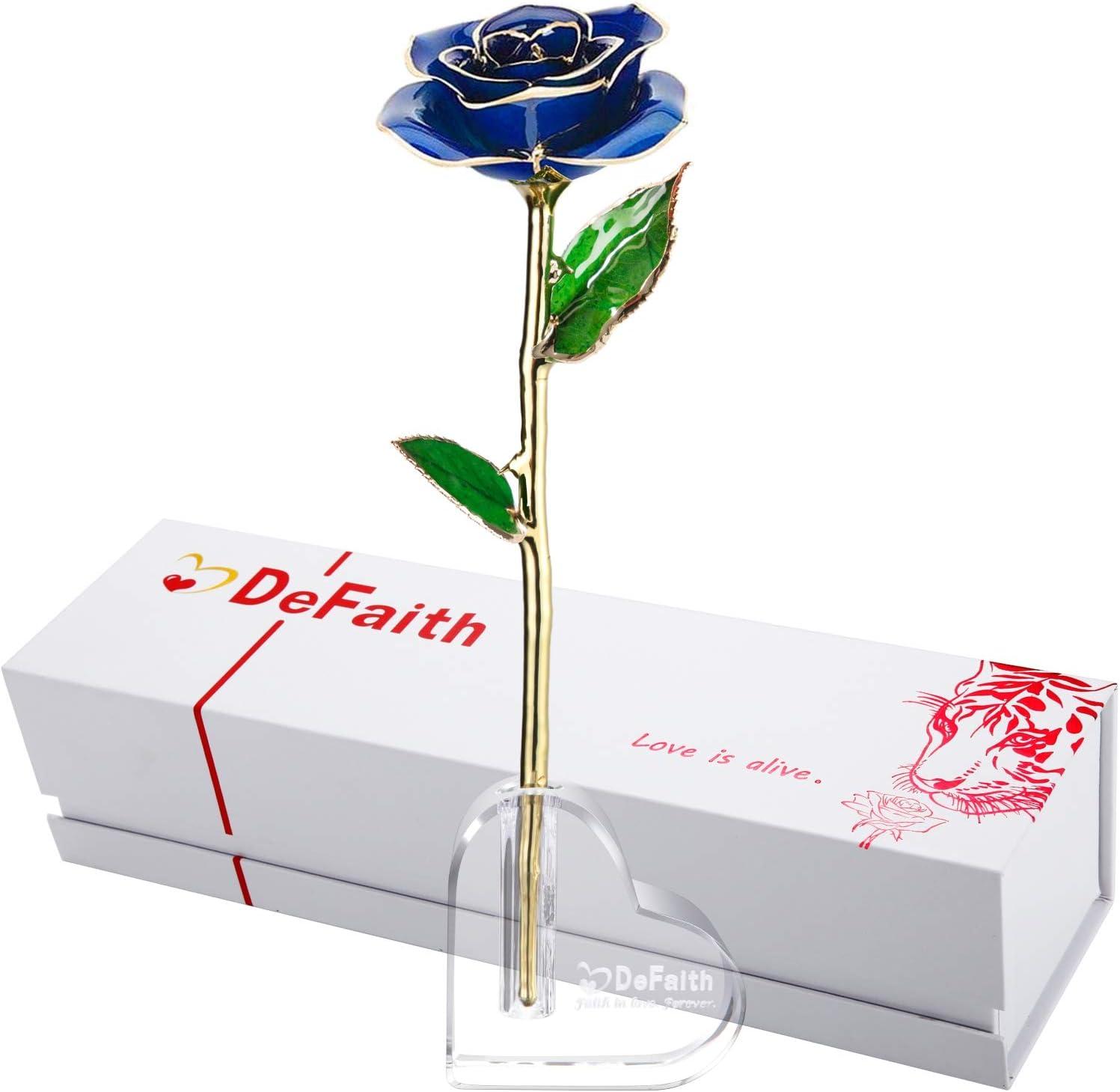 DEFAITH 24Kゴールドディップローズとクリスタルハートスタンド。 11 inch ブルー DF-GOLD-DIPPED-ROSE