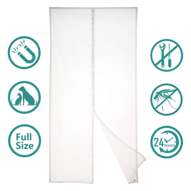 Insektenschutz T/ür mit Klettband CHENG Fliegengitter Balkont/ür Passt T/ürgr/ö/ße bis zu Wei/ß 70x180cm 27x70inch Insektenschutz