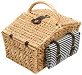 Greenfield Collection Somerley Willow Picnic Hamper for Four People with Matching Blanket - Luxury Fitted Hamper Range