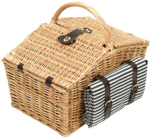 Greenfield Collection Somerley Willow Picnic Hamper for Four People with Matching Blanket - Luxury Fitted Hamper Range by Greenfield Collection