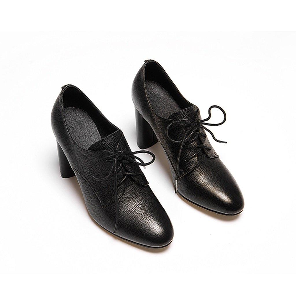 YUBIN Frauen Schuhe Herbst Jugend Neue Leder Spitze Deep-Set Schuhe Europa und Den Vereinigten Staaten Runden Runden High Heels Dick mit Einzelnen Schuhe Weiblich (Farbe   schwarz Größe   37)