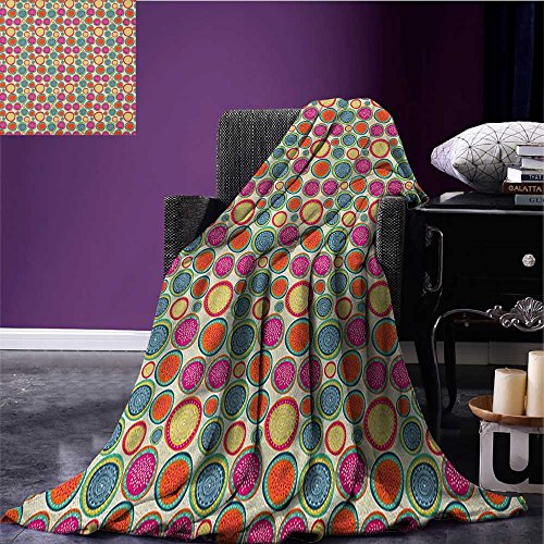 Colorful cool blanket Doodle Style Lively Colored Round Shapes with Ethnic and Floral Artful Motifs Pattern Multicolor size:51