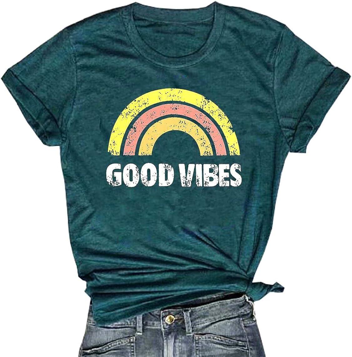 Good Vibes - Camiseta de manga corta para mujer, diseño de arcoíris - Verde - Medium: Amazon.es: Ropa y accesorios