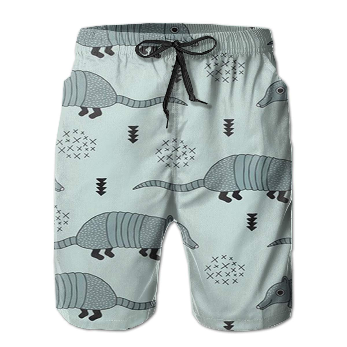 AMRANDOM Cute Armadillo Cactus Mens Drawstring Waist Swim Trunks Boardshort