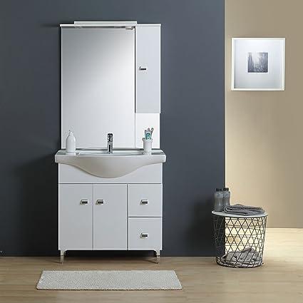 Mobile Bagno 85 Cm A Terra Con Lavabo Specchio E Pensile Bianco Amazon It Fai Da Te