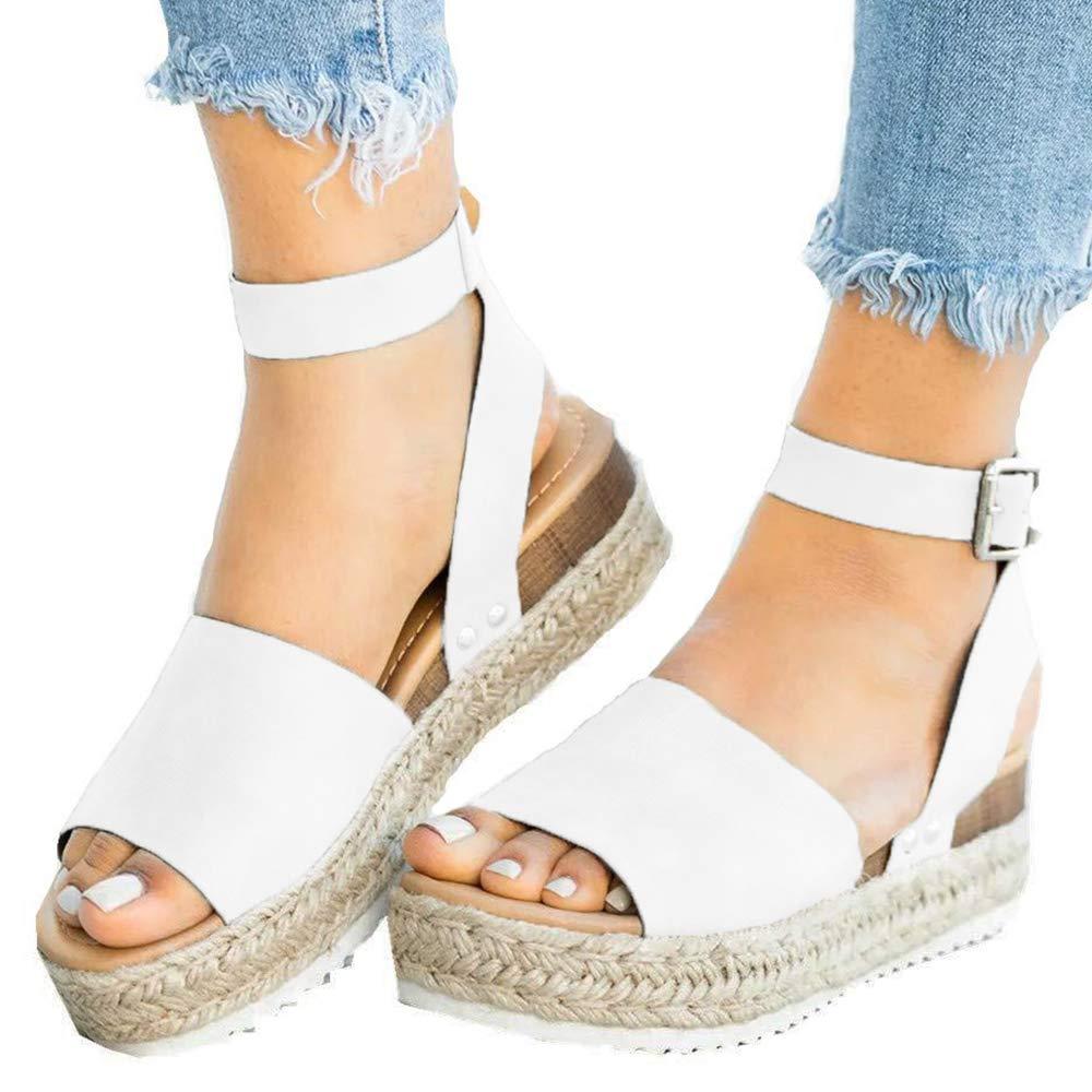 Athlefit Women's 2019 Platform Sandals Espadrille Wedge Ankle Strap Studded Summer Sandals Size 8 White by Athlefit