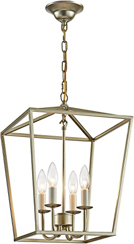 ANJIADENGSHI Vintage Lantern Pendant Light Lantern Iron Cage 4 E12 Bulbs Lantern Chandelier