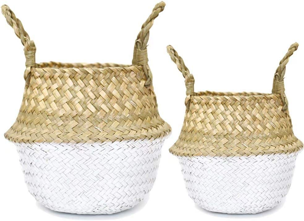 IN VACUUM 2 Pack Seagrass Plant Basket Seagrass Belly Basket for Storage, Laundry, Picnic and Woven Straw Beach Bag- White