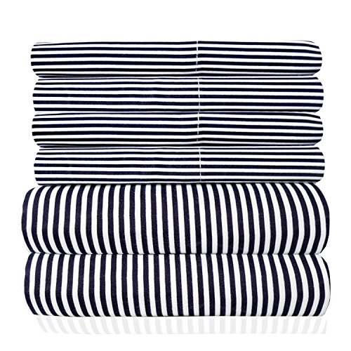 Sweet Home Collection Quality Deep Pocket Bed Sheet Set 2 Extra Pillow Cases, Great Value, Twin, Classic Stripe Navy, 4 Piece Stripe Pillowcase Set
