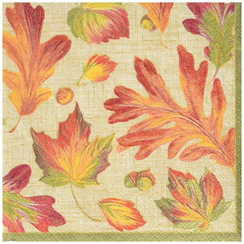 (Entertaining with Caspari Linen Leaves Cocktail Napkins, Orange, (Pack of 20))