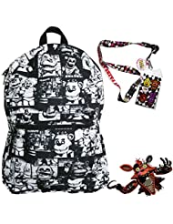 Five Nights at Freddys Backpack with Lanyard and Keychain Charm (Black and White)