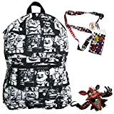 : Five Nights at Freddy's Backpack with Lanyard and Keychain Charm (Black and White)