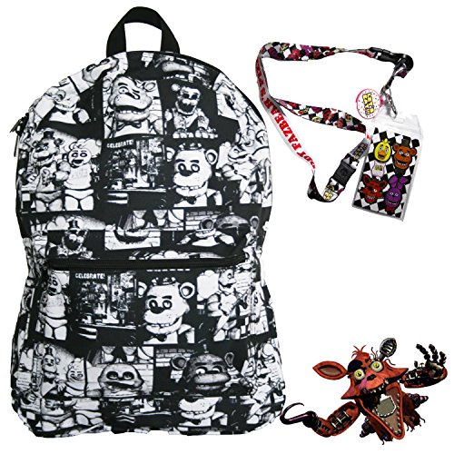 Five Nights at Freddy's Backpack with Lanyard and Keychain Charm (Black and White) -