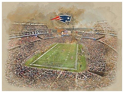 ATLAS New England Patriots Poster Watercolor Art Print 12x16 Wall Decor (New England Patriots Wall Border)