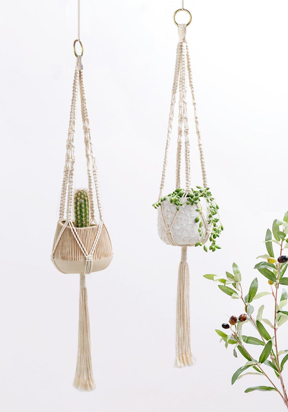 Mkouo 2 Paquets Suspension pour Plante Macram/é Porte D/écoration du Jardin avec 4 Jambes en Corde de Coton 77 cm