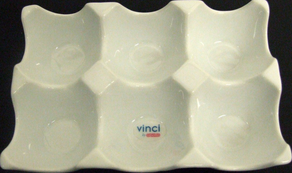 Dishwasher Safe White Ceramic 6 Egg Holder Tray Vinci