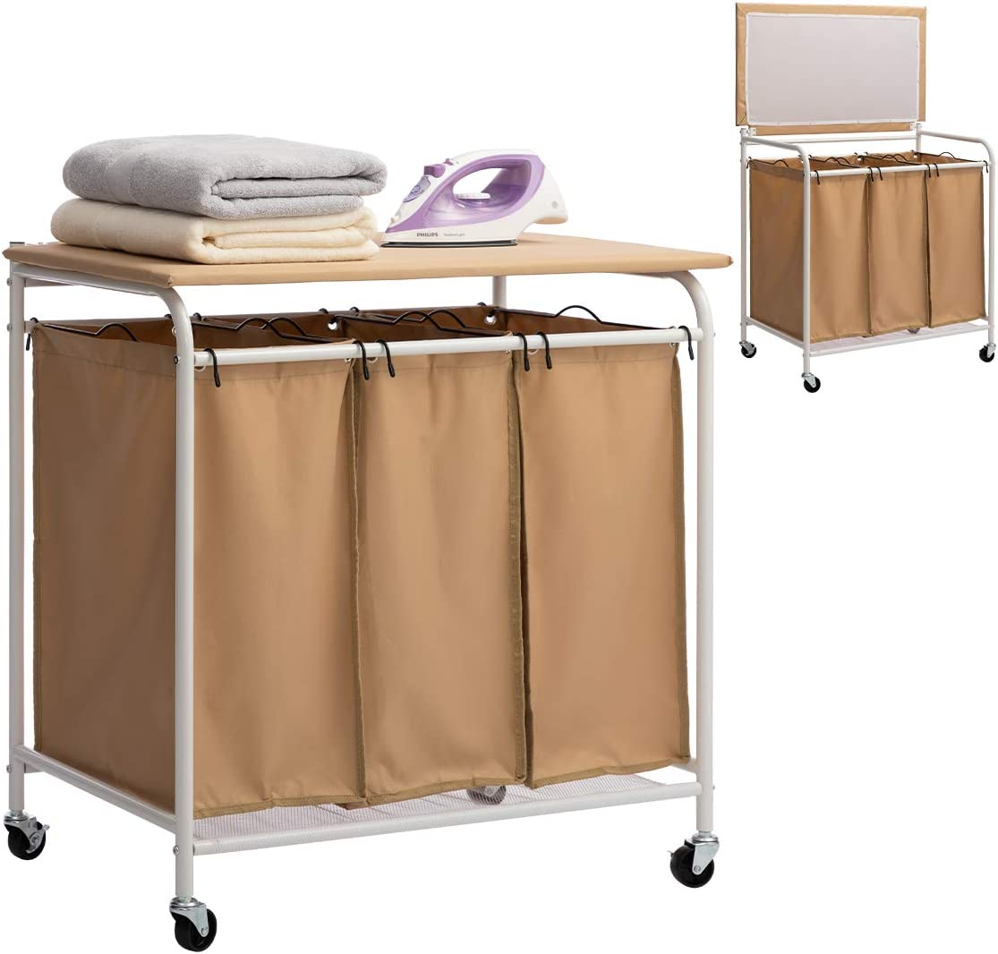 HollyHOME 3-Bags Laundry Sorter Cart with Foldable Ironing Board Rolling Heavy-Duty Laundry Hamper with Removable Bags Mobile Brake Caster Khaki