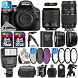 Holiday Saving Bundle for D3300 DSLR Camera + 18-55mm VR Lens + Tamron 70-300mm Di LD Lens + 0.43X Wide Angle Lens + 2.2x Telephoto Lens + Backup Battery + Flash - International Version