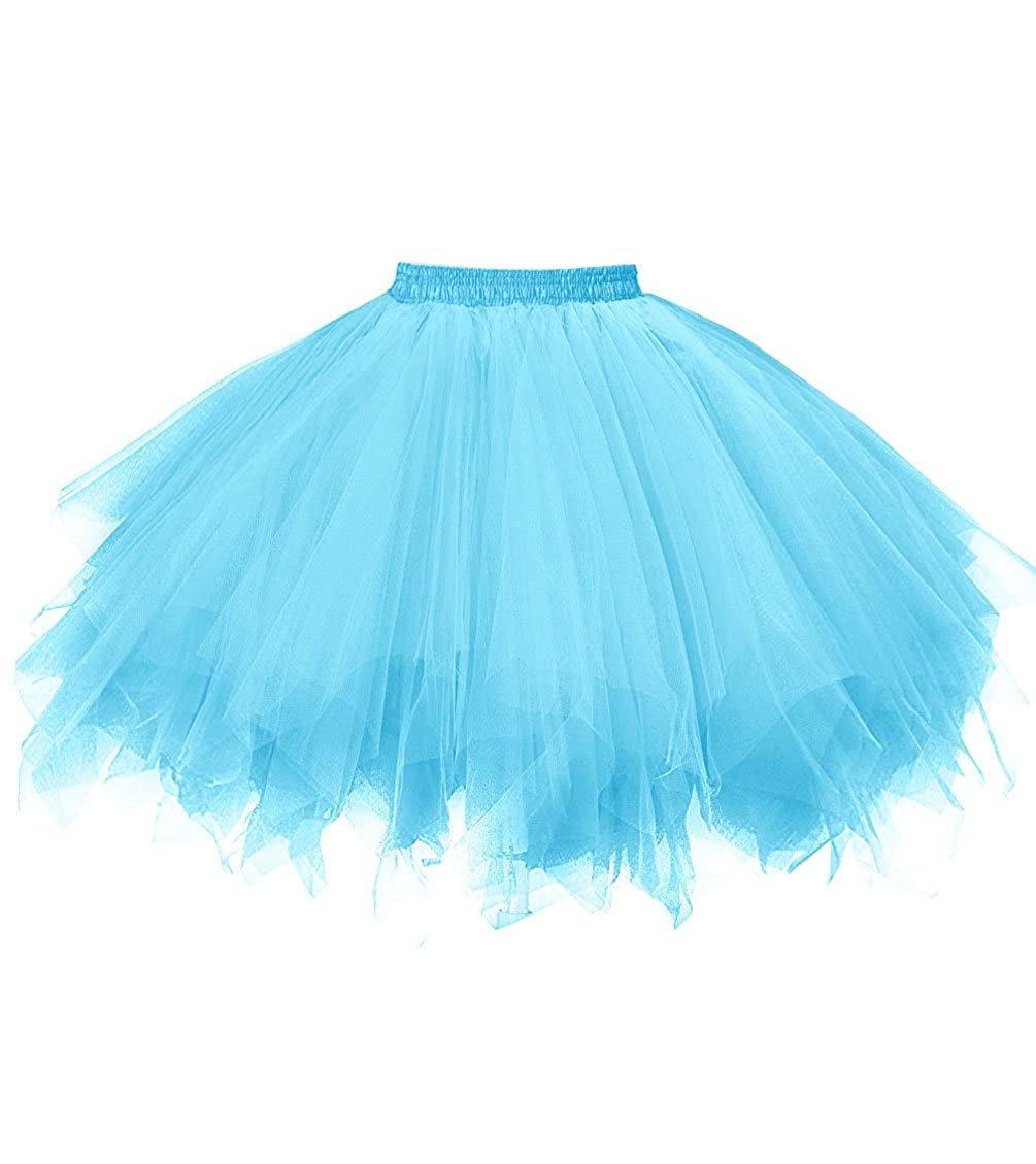 bluee Dresstore Women's Short Vintage Petticoat Skirt Ballet Bubble Tutu Multicolord