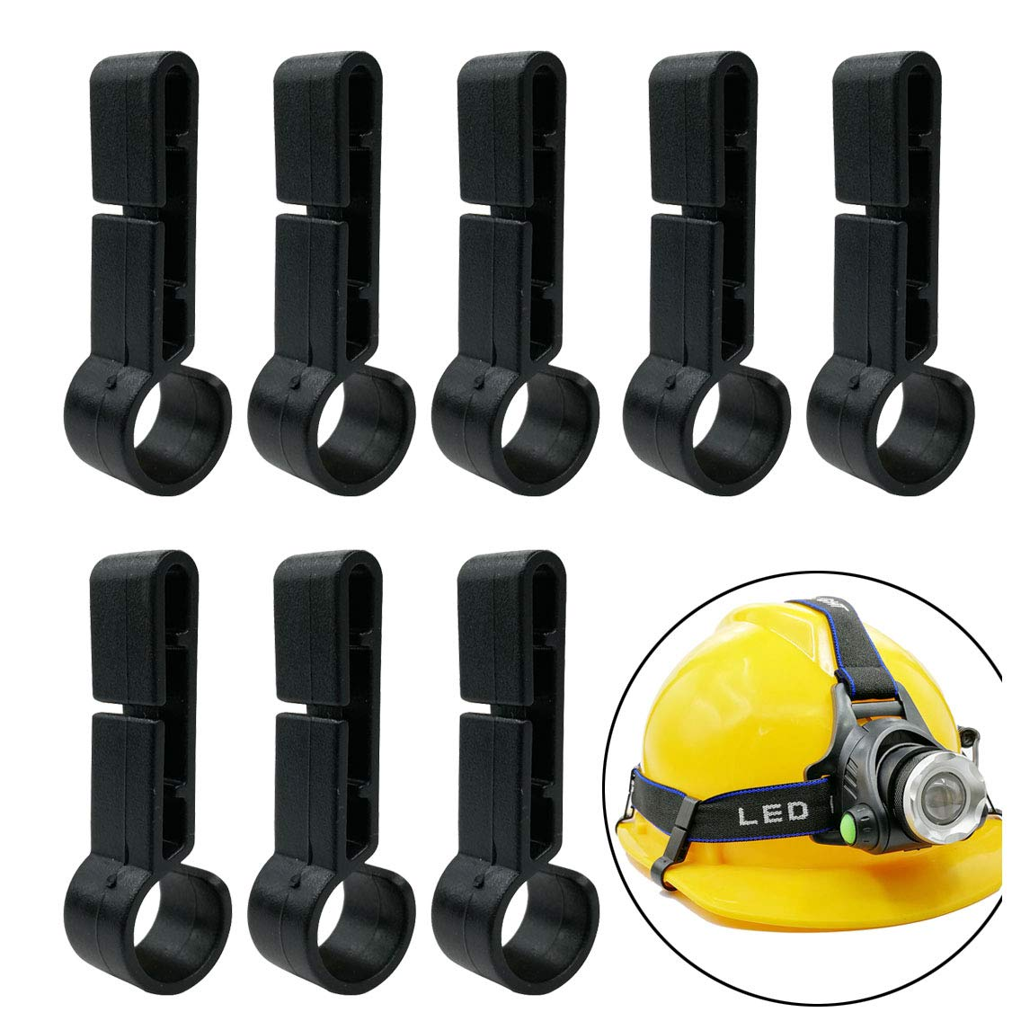 GuangTouL Hardhats Clips, 8 pieces Helmet Headlamp Clips Black Hardhat Hooks for Various Headlamp and Hard Hat