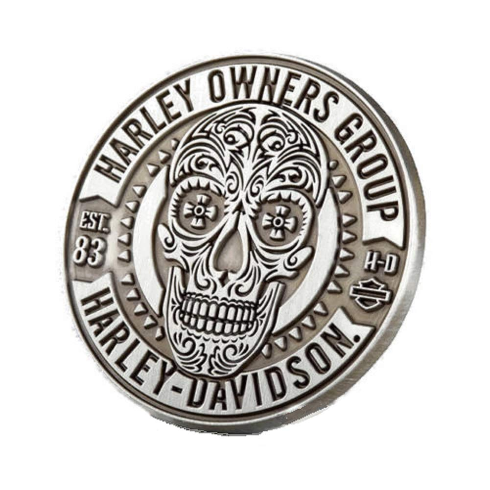 MSPowerstrange Sugar Skull Vest or Jacket Pin Decorative ~ Harley Davidson Owners Group HOG H.O.G,Silver Die-Struck Antique Finish by MSPowerstrange