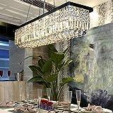 Cheap Moooni Modern Rectangular K9 Crystal Chandelier Lighting Dining Room Pendant Lighting, Painted Black Finish L39.5″ X W10″ X H10″